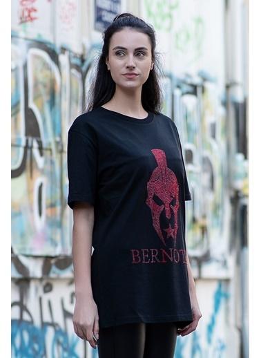 Bernotti 79 Siyah Özel Baskı Detaylı Kadın T-Shirt Siyah